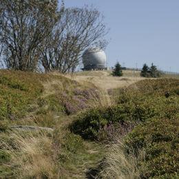 Gepäcklos wandern entlang des Hochrhöner Wanderweges durch Bayern Hessen und Thüringen - wasserekuppe-kuppel