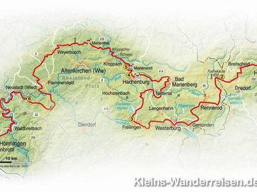 Streckenverlauf Wanderweg Westerwald-Steig
